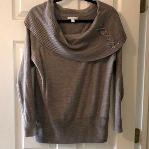 NY&Co Tan Cowl Neck Sweater